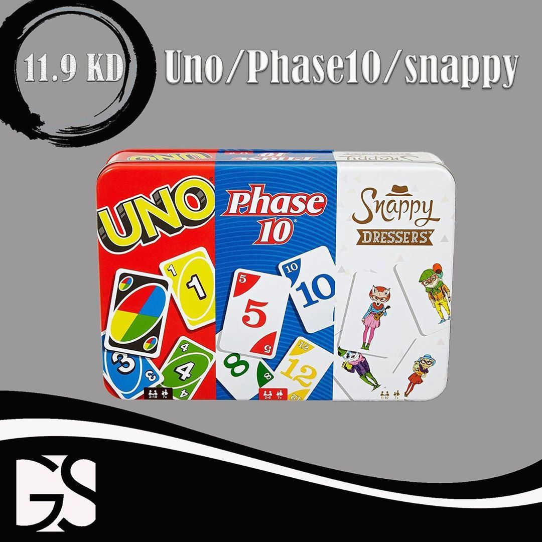 Uno لعبة وphase10 وsnappydressers كلهم ببكج واحد السعر 11 900kd للطلبات رساله خاصه
