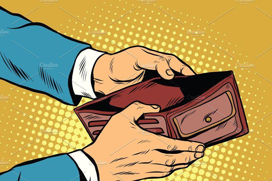 Empty wallet, no money in 2020 Retro vector illustration