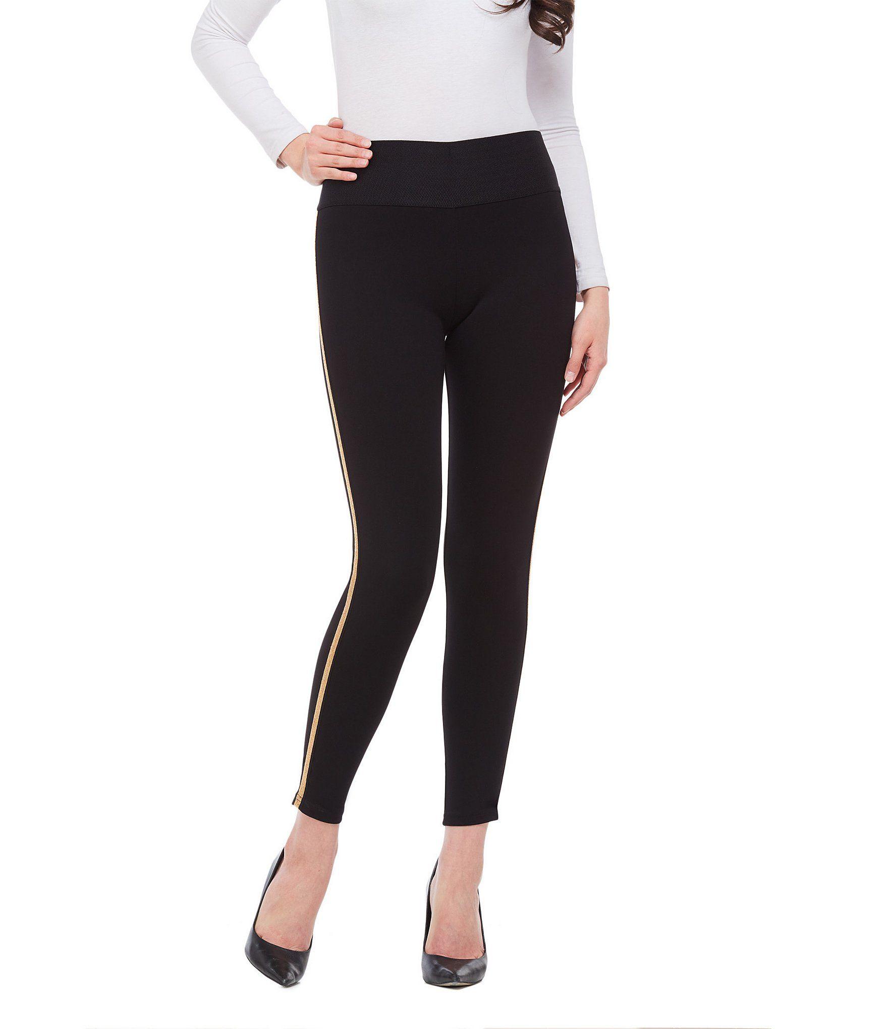 Peter Nygard SLIMS Luxe Ponte Shimmer Tape Beaded Metallic Tuxedo Side Stripe Leggings - Black/Gold S #stripedleggings