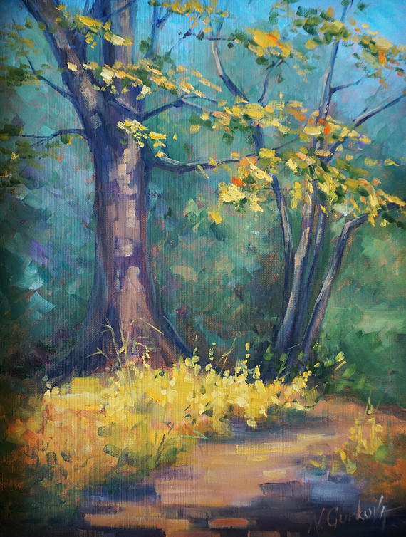 Fall Trees Landscape Oil Painting Framed Original Artwork Oil On Canvas Board Oil Painting Landscape Easy Landscape Paintings Original Oil Painting