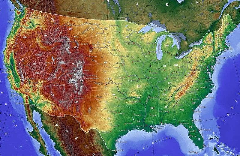 Topographical Map Of Usa United States Topographic Map Labeled Map