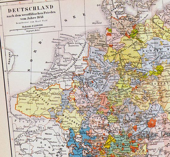 Germany Thirty Years War Map Edwardian Era Brightly - Map germany thirty years war