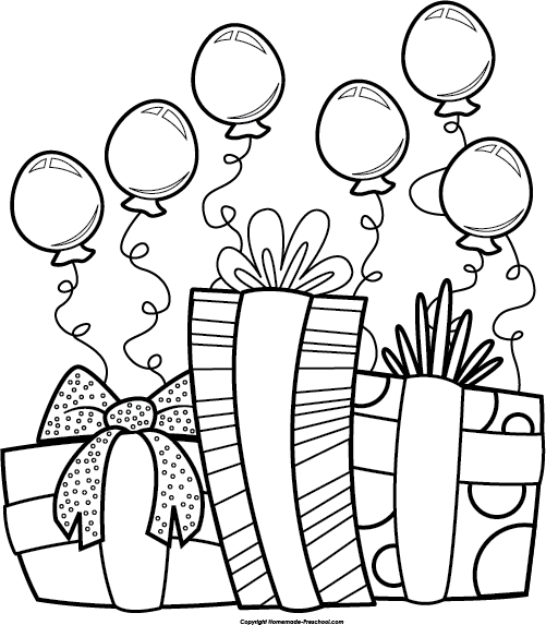 Best Birthday Party Clipart Black And White 27383 With Images
