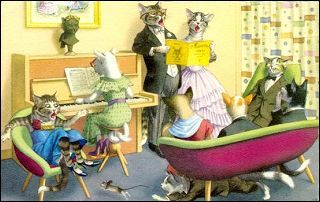 "CatStuff: Mainzer Dressed Cat Postcards ~ ""Family Night"""