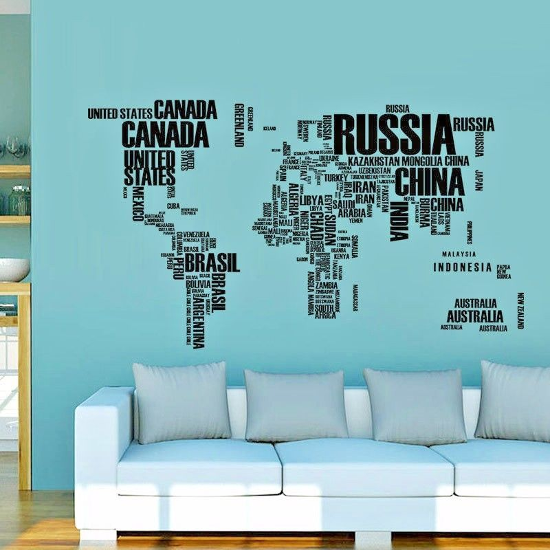 World map wall stickers letters office living room stick art world map wall stickers letters office living room stick art removable decals worldmapwall modern gumiabroncs Choice Image