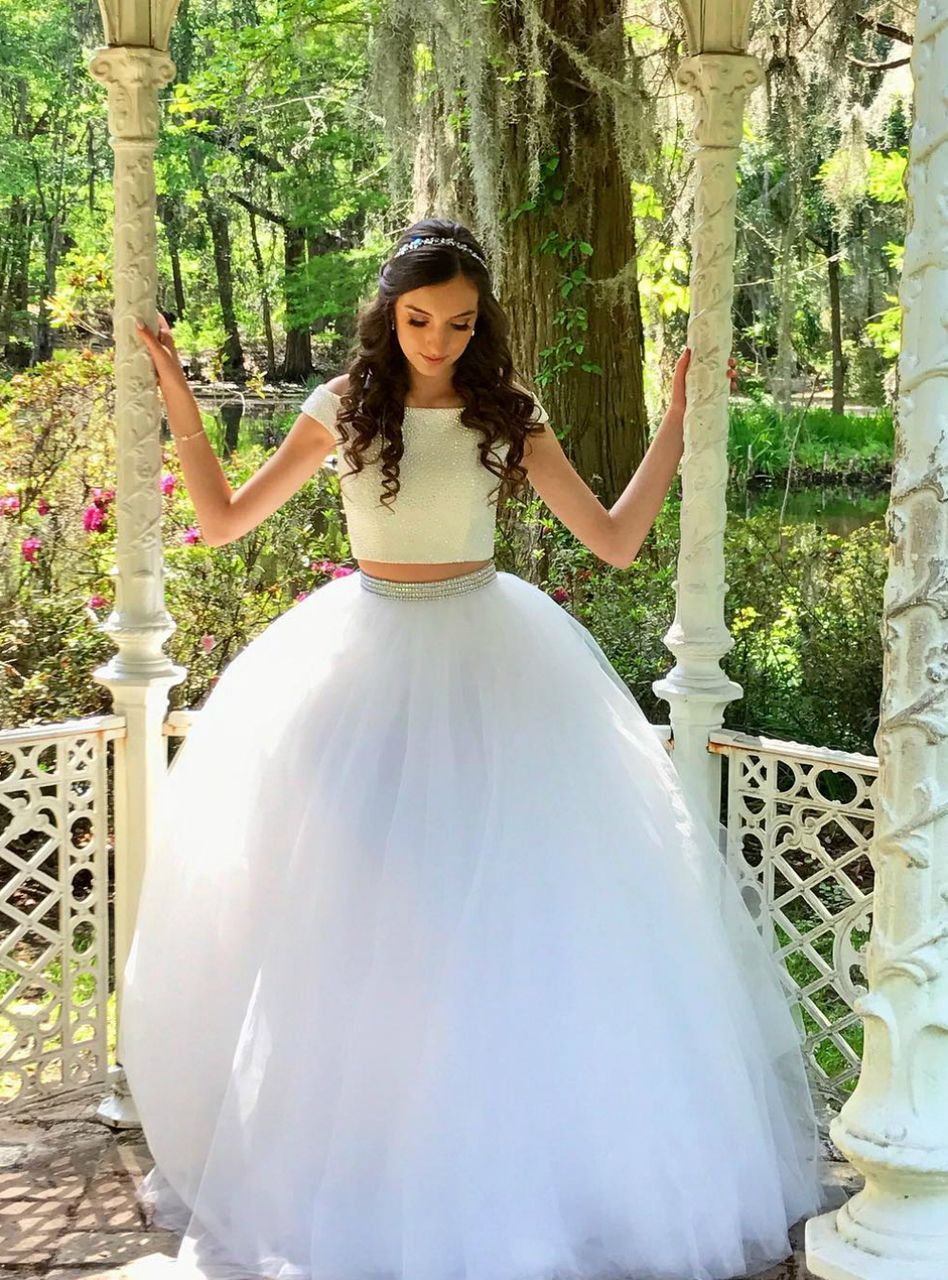 Two piece off the shoulder long white long prom dress kemedress