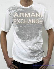 T-shirt Manches Courtes Armani Exchange Homme Moins Cher Coton Blanc ... 7ace06b06d3
