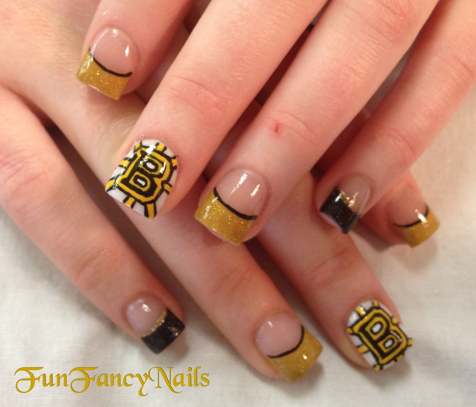 Bruins!! Nail art done by me!! | My Nail Art | Pinterest | Fancy ...