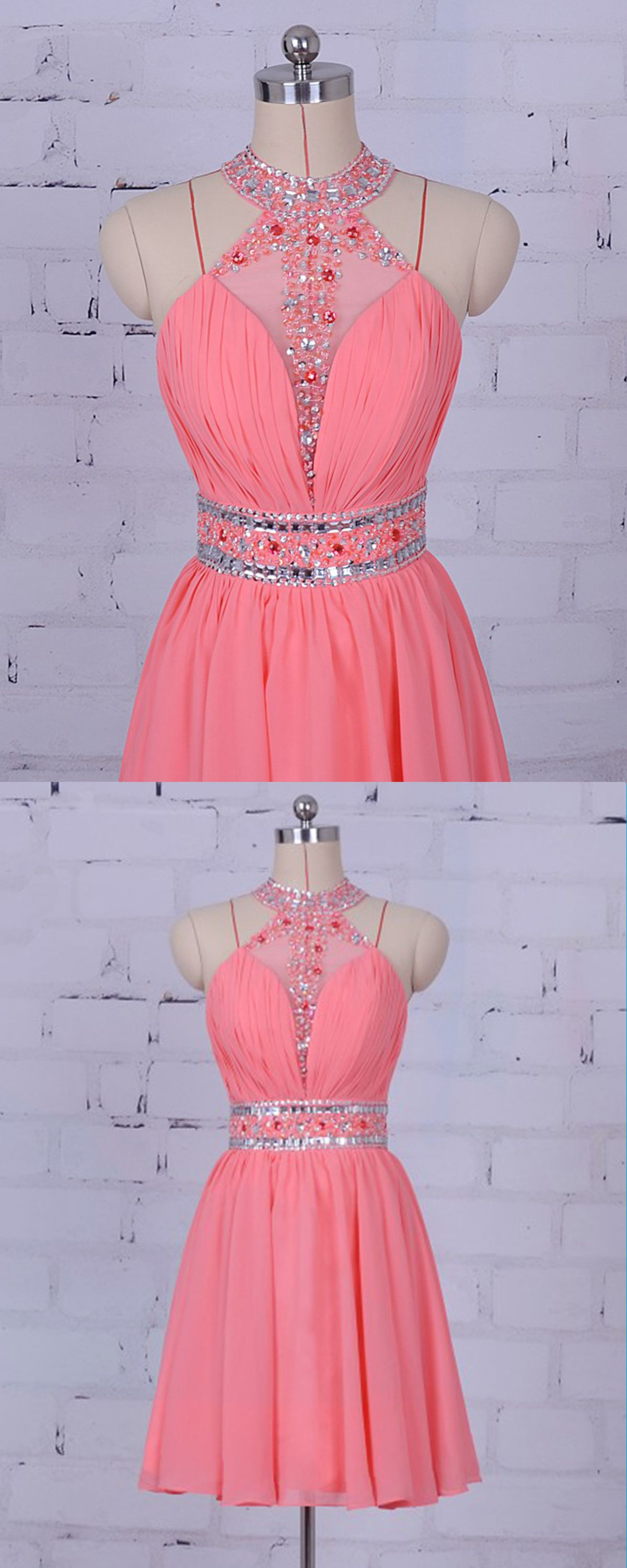 Pink chiffon strapless short see through prom dress pink short