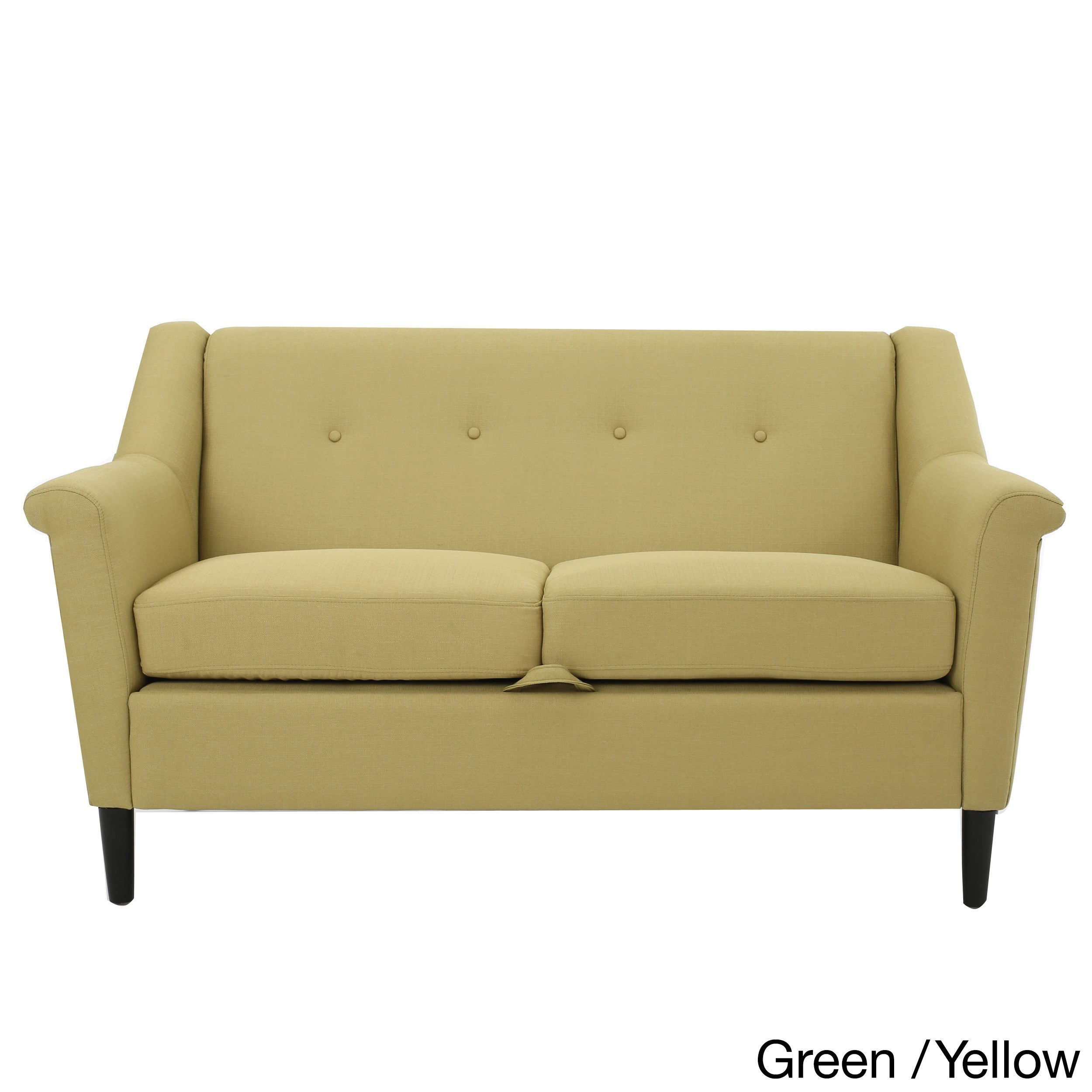 Mullin Two-Seat Fabric Sofa by Christopher Knight Home (Green/Yellow) (Birch)