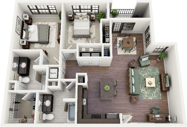 50 plans 3d d'appartement avec 2 chambres | floor plans, floors