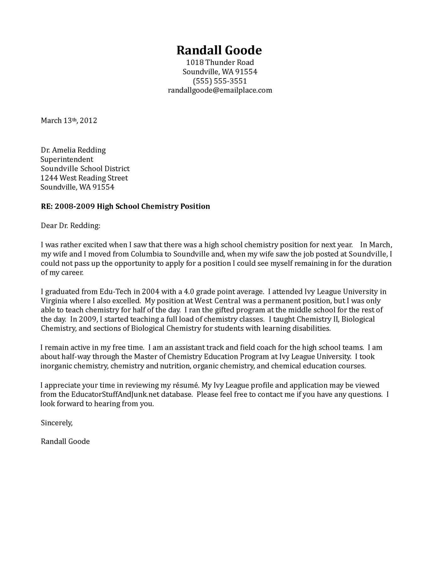 Cover Letter Template Job Application Teacher Cover Letter