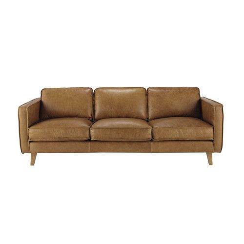 Vintage-Sofa 3-sitzig aus Leder, camelfarben