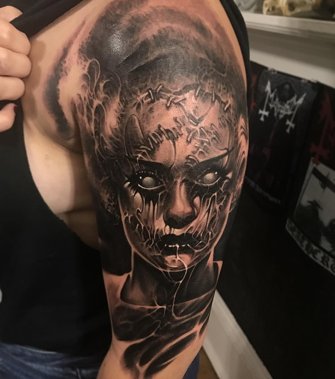 Scary Tattoo Realism By Brandon Herrera Scary Tattoos Skull