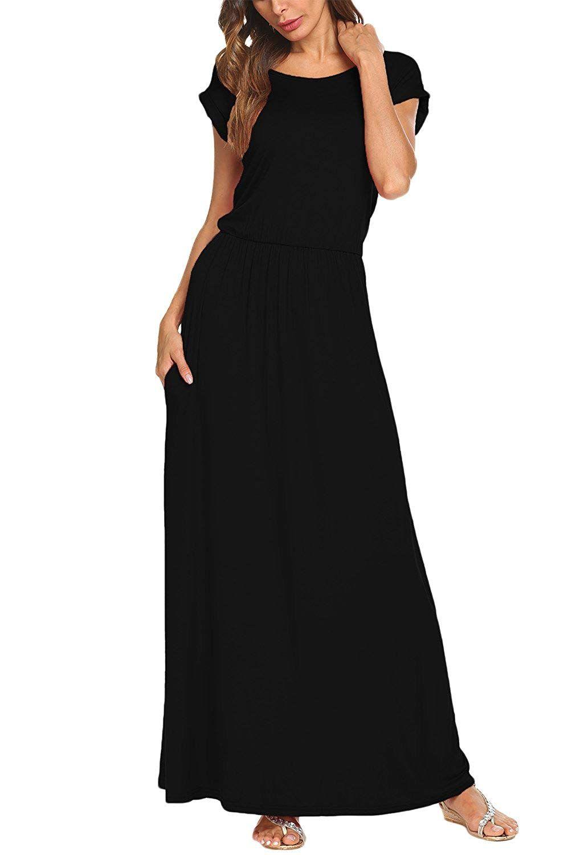 Bluetime Womens Short Sleeve Maxi Dress With Pockets Plain Loose Pleated Swing Casual Long Maxi Dress With Sleeves Long Dress Casual Short Sleeve Maxi Dresses [ 1500 x 1011 Pixel ]