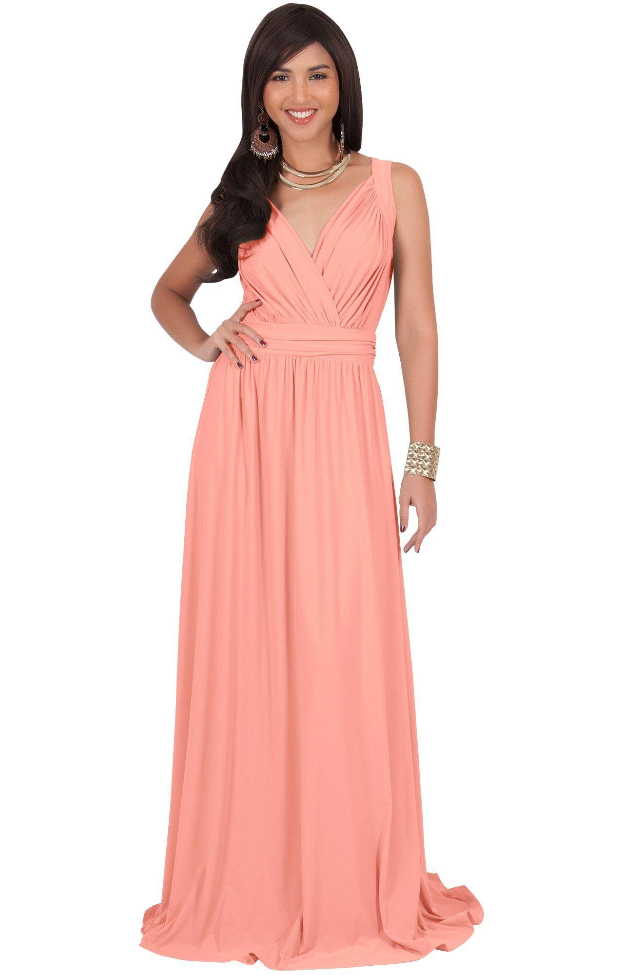 Plus size summer wedding dresses  KOH KOH Plus Size Womens Long Sleeveless Flowy Bridesmaids Cocktail