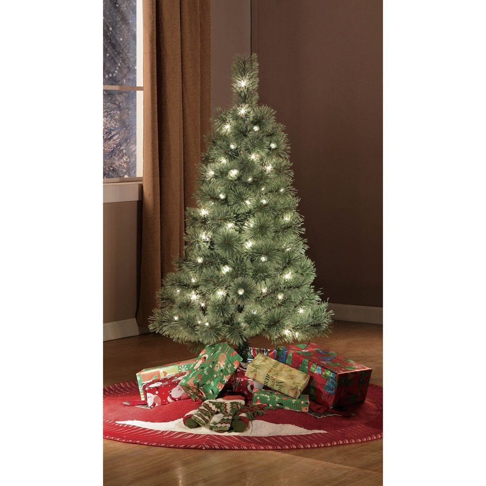 4 ft christmas tree w clear lights small prelit artificial holiday decor green - Pre Lit And Decorated Christmas Trees