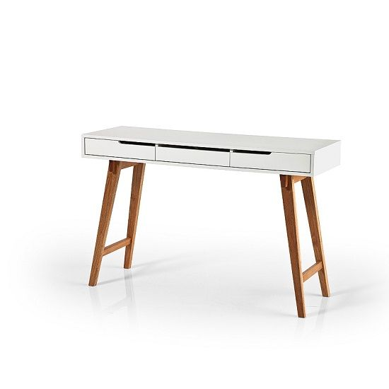 Anke Console Desk In White With Beech Legs