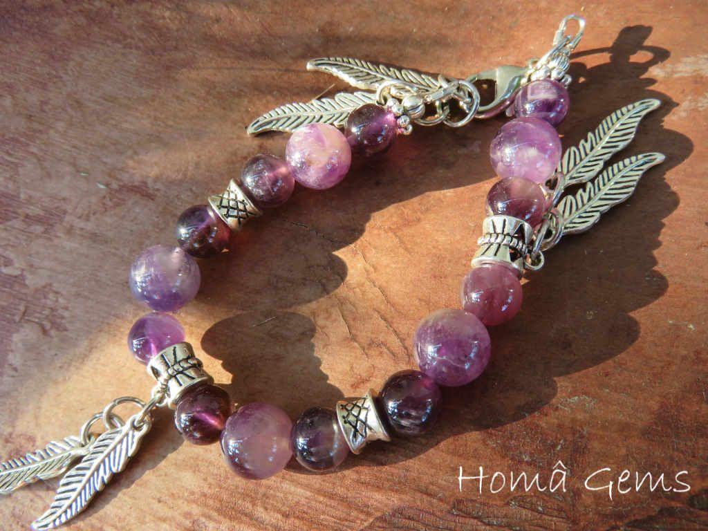Bracelet indien améthyste violet à breloques bijoux boheme