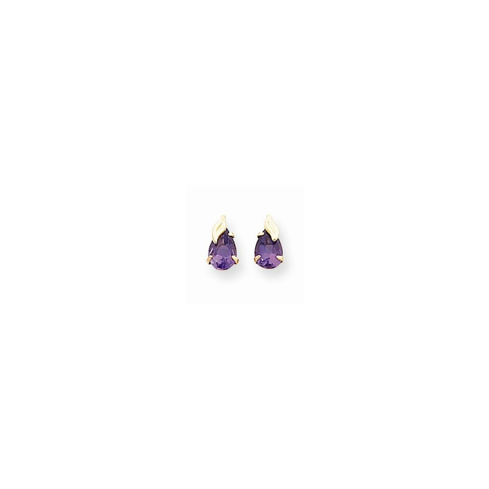 14k Yellow Gold Madi K. Amethyst with Leaf Earrings