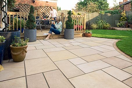 Neatness is of utmost importance flat and level with no for Garden patio slab designs