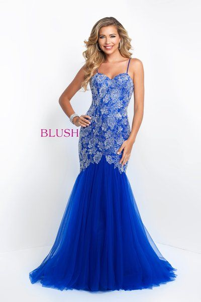 6049581ee2a Tulle fit   flair with heavy beaded body. Style 11582 Blush Prom Dress ...
