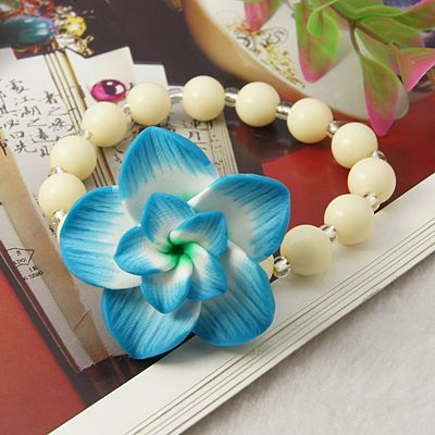 Fashion Handmade Polymer Clay Beads Bracelets With Acrylic Beads Glass Seed Beads And Elastic Crystal Thread Deepskyblue 55mm With Images Clay Beads Handmade Polymer Clay Seed Bead Bracelets