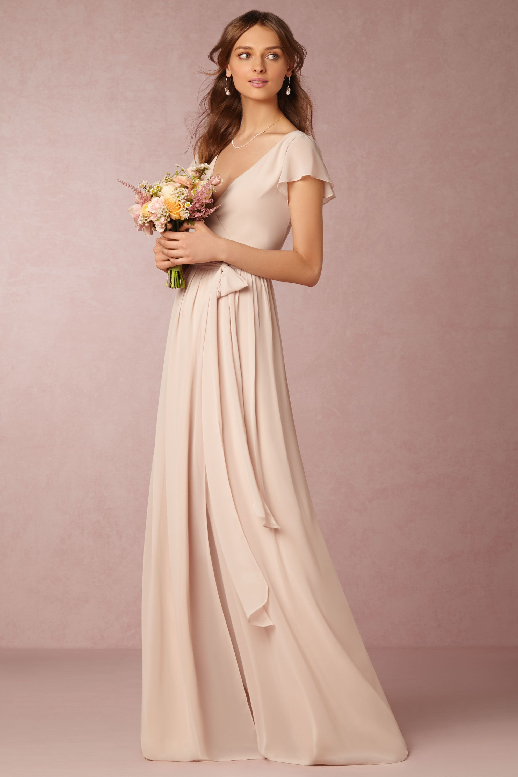 wrap dress with flutter sleeve, this neutral maids style