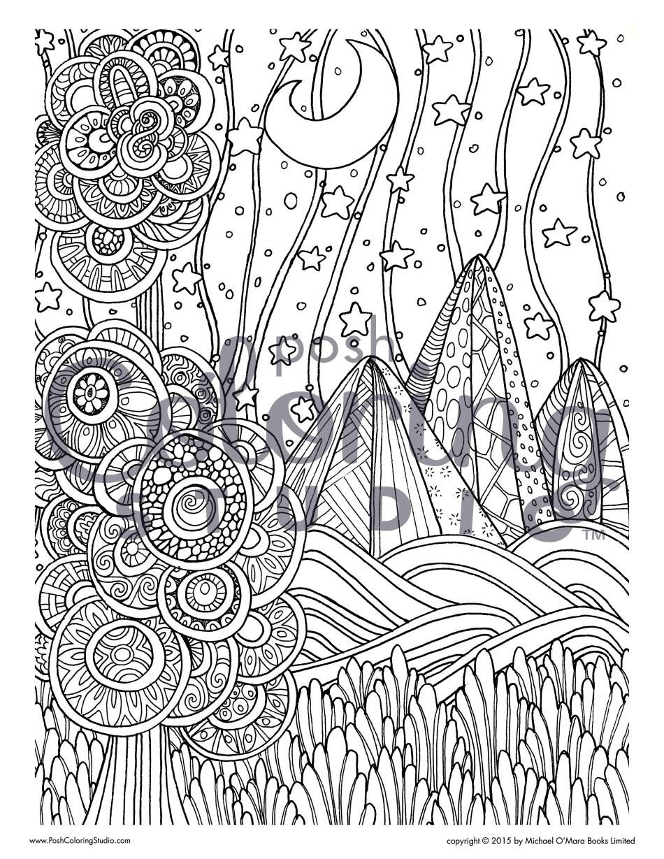 Moonlit Mountains | Posh Coloring Studio | Coloring Pages for Adults ...