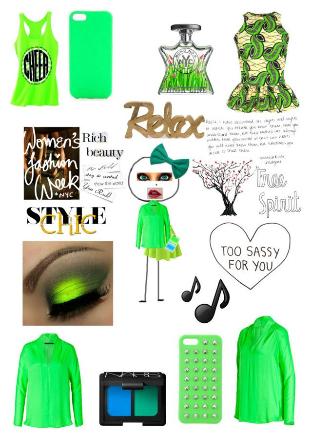 """""""go green!"""" by oceanraen ❤ liked on Polyvore featuring Ralph Lauren Blue Label, FAIR+true, Bond No. 9, NARS Cosmetics, Jagger Edge, 4WE, MANGO, Forever 21, WALL and Music Notes"""