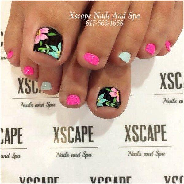 50+ Pretty Toe Nail Art Ideas   Toe nail designs, Pink black and Pastels
