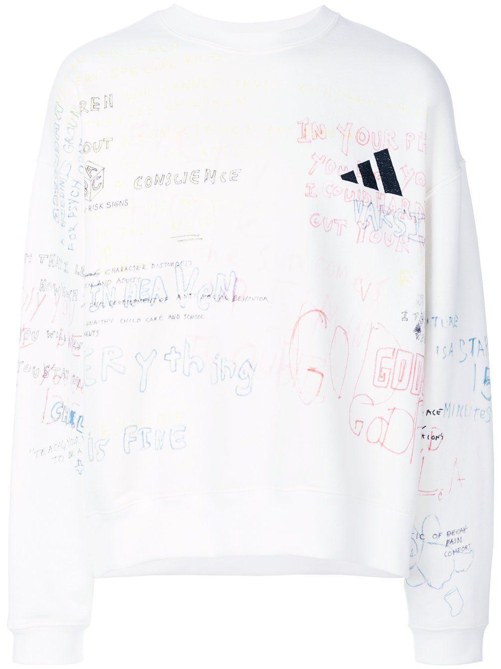Crew Rib Side Sweatshirt Graffiti Yeezy Season Yeezy Mens Cotton Sweaters [ 1334 x 1000 Pixel ]