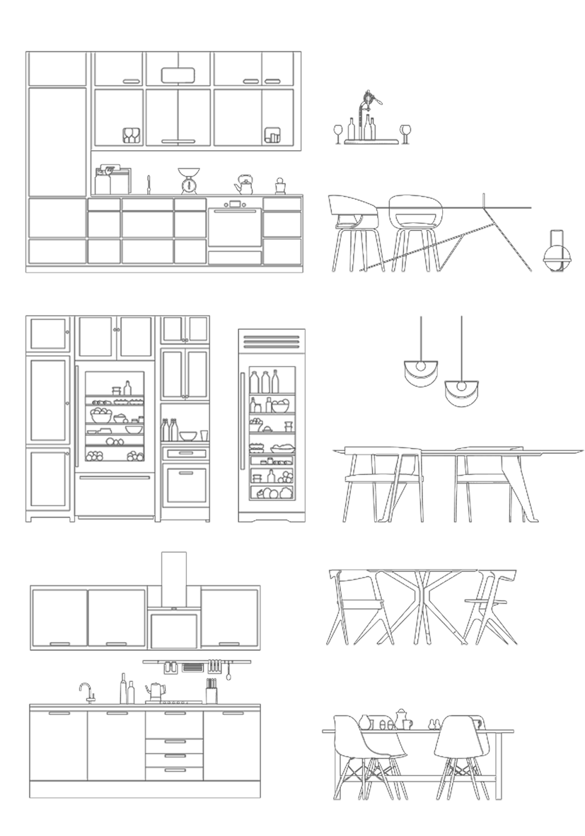 Modern kitchen furnitures cad dwg for architecture interior design dwg ai pdf kitchen furnitures toffu co