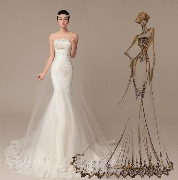 Lovely Mermaid Tail Wedding Dress Nice2wears 9aab13192e9f