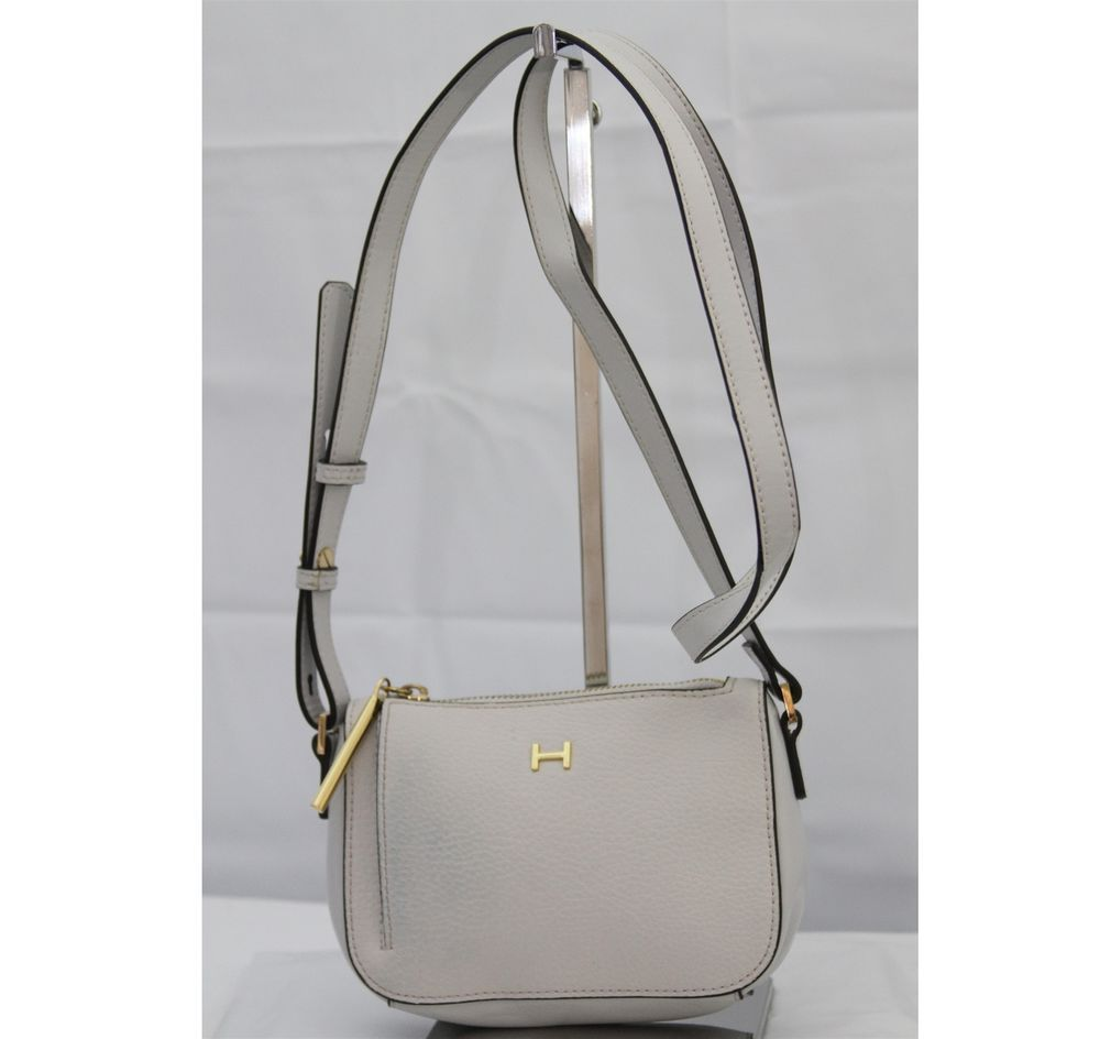 129 H by Halston Pebble   Smooth Leather Mini Crossbody Bag Haze Grey  HB-02484  HbyHalston  Crossbody 8c254301d3560