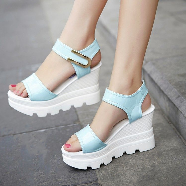 Wedge Sandals For WomenSpring Summer Ladies Women's Vintage Bohemia Fish Mouth Platform Wedge Peep Toe Flat High Heels Bohemian Flip-Flop Sandal