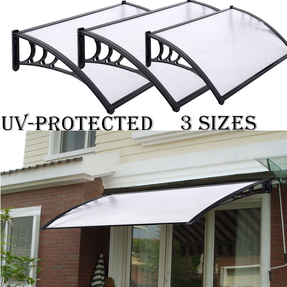 New Door Canopy Awning Shelter Front And Back Door Awning Polycarbonate 3 Sizes House Front Door Front Door Canopy Outdoor Awnings