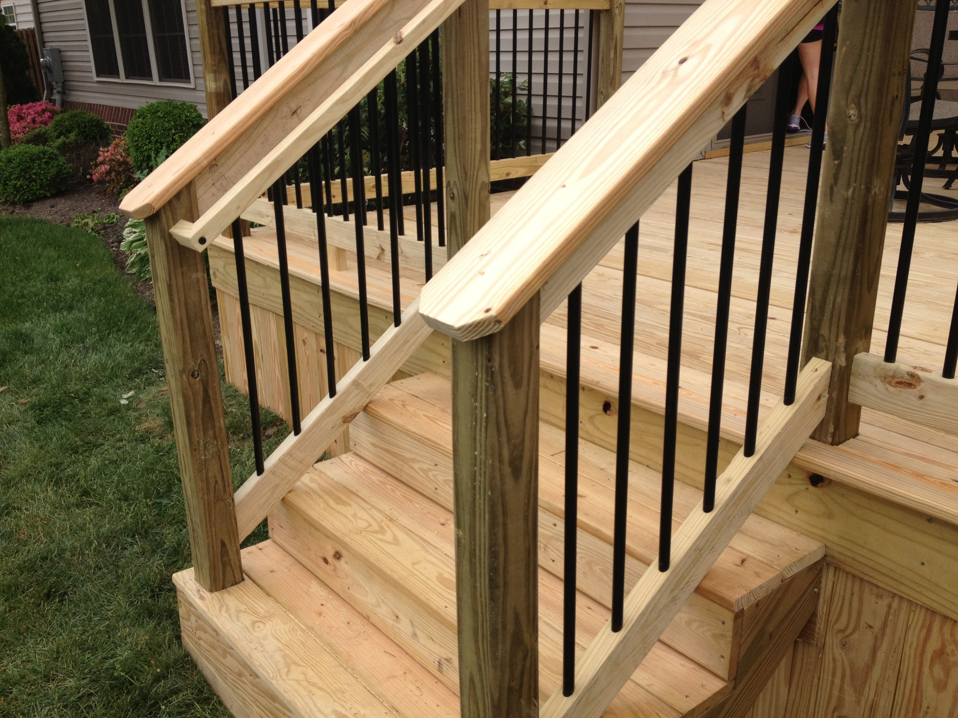 Black Aluminum Spindles And Graspable Handrail With | Pressure Treated Graspable Handrail