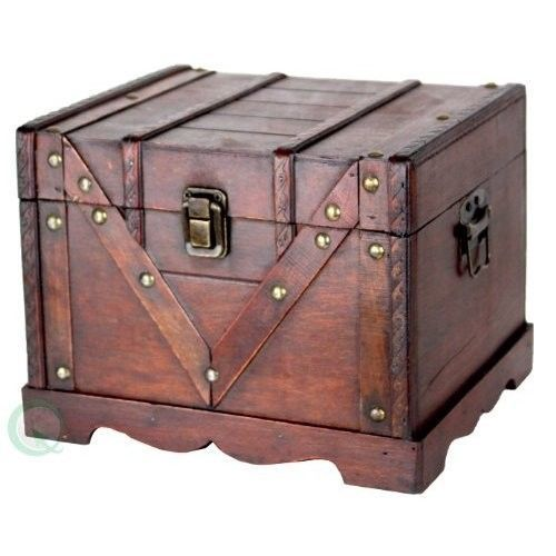 Vintage Wooden Storage Box Antique Style Treasure Chest Jewelery Organizer  Case