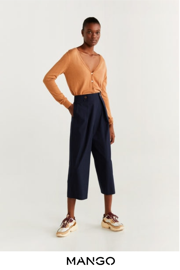 MANGO – female – Pantalón culotte pliegues azul marino MANGO – Azul marino – XS