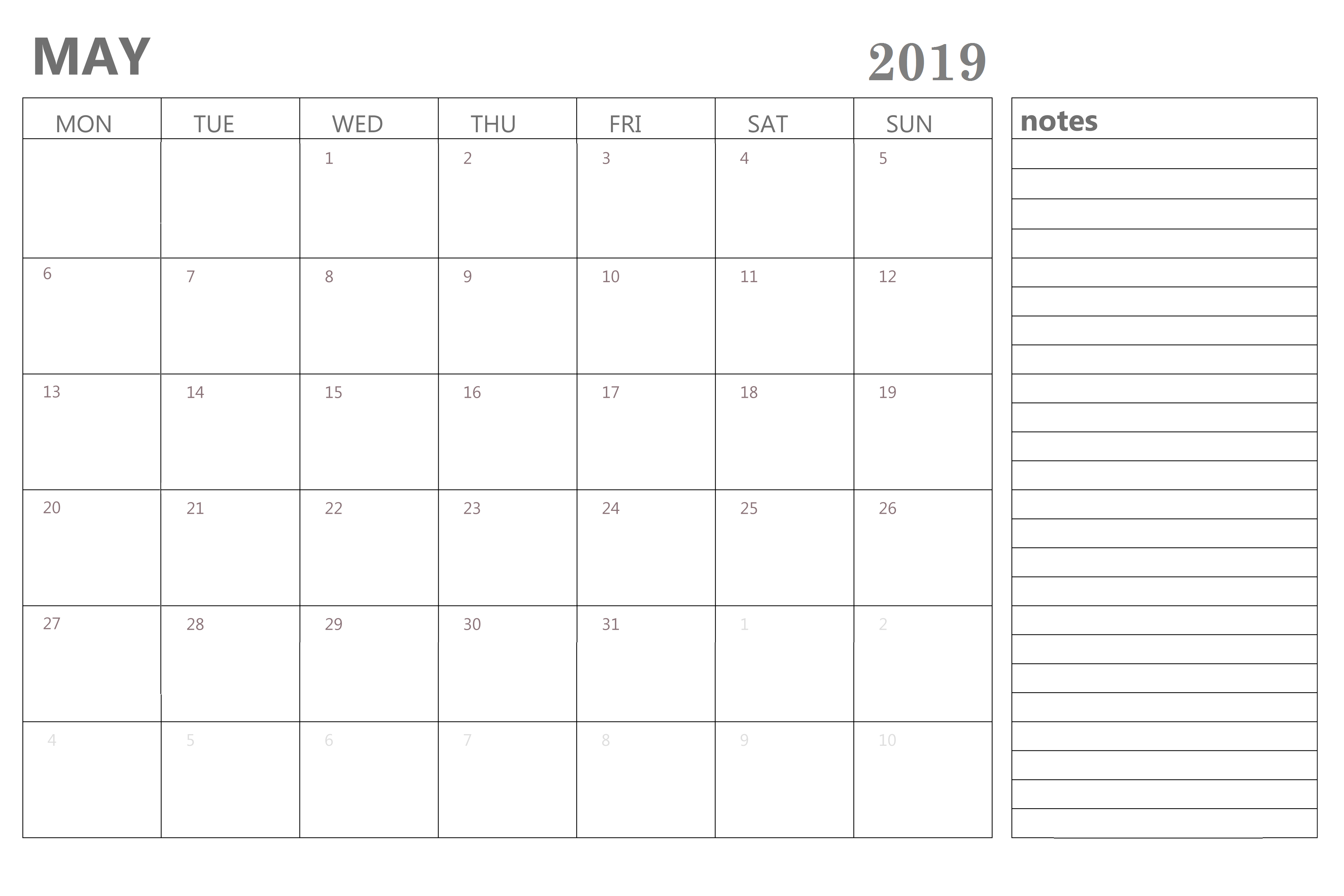 May Planner With Notes In