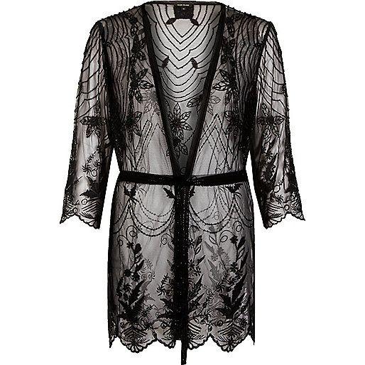 Black lace embellished kimono | sequin detail |£45