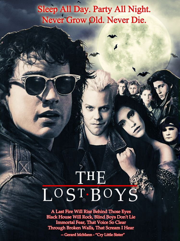The Lost Boys 1987 - Brothers Michael (Jason Patric) and Sam (Corey Haim) move with their mother (Dianne Wiest) to a town in California. While the younger Sam meets a pair of kindred spirits in geeky comic-book nerds Edward (Corey Feldman) and Alan (Jamison Newlander), the angst-ridden Michael soon falls for Star (Jami Gertz) -- who turns out to be in thrall to David (Kiefer Sutherland), leader of a local gang of vampires. Sam and his new friends must save Michael and Star from the undead.