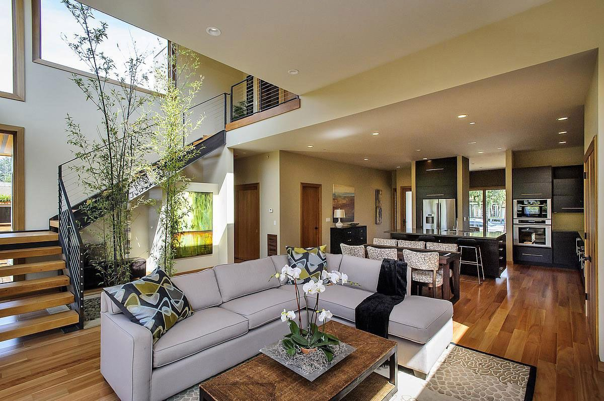 Kitchen, Living Space, Stairs, Modern Home In Burlingame, California