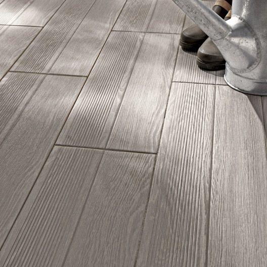 Carrelage extérieur Avoriaz en grès cérame émaillé, gris, 20 x 604 - carrelage terrasse exterieur imitation bois