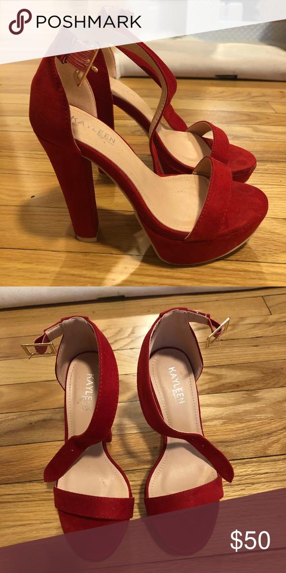Red Block Heels Red Block Heels Worn Once Size 6 Shoes Heels With Images Red Block Heels Heels Block Heels