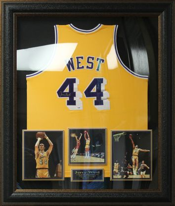 Jerry West Signed Los Angeles Lakers Jersey Framed.  f21f61912