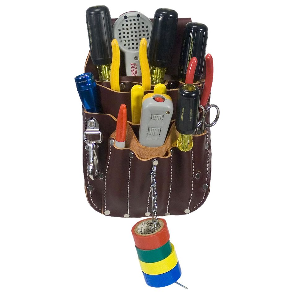 the occidental leather telecom pouch is an all leather multi tool holder for