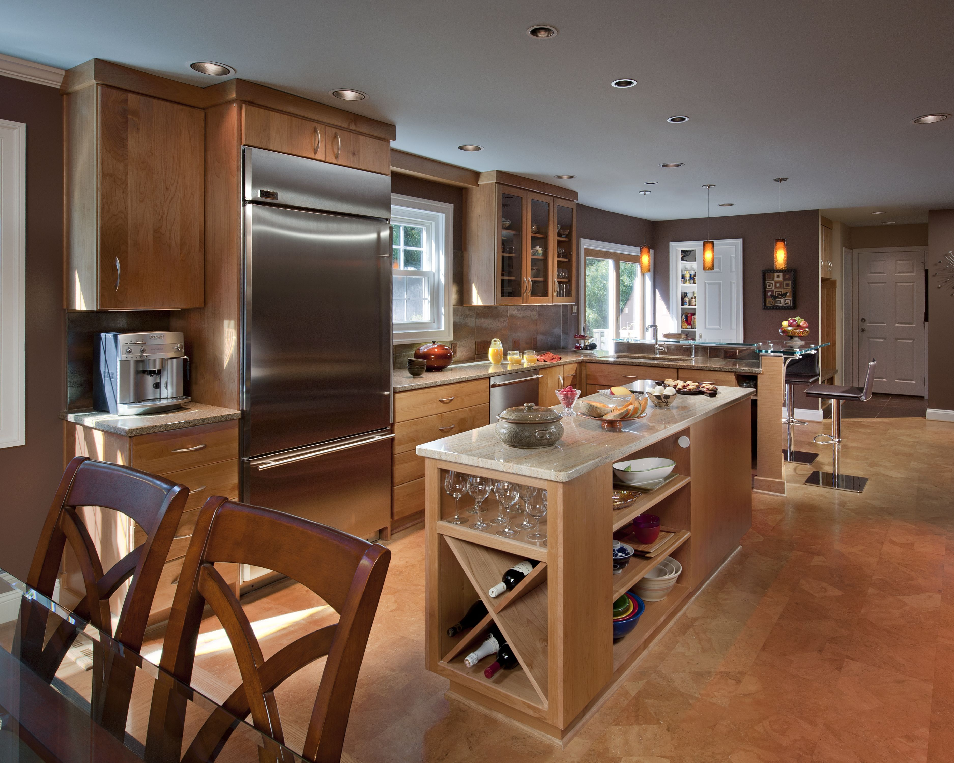 warm colors and an island for this open concept kitchen open concept kitchen kitchen remodel on kitchen remodel with island open concept id=66522