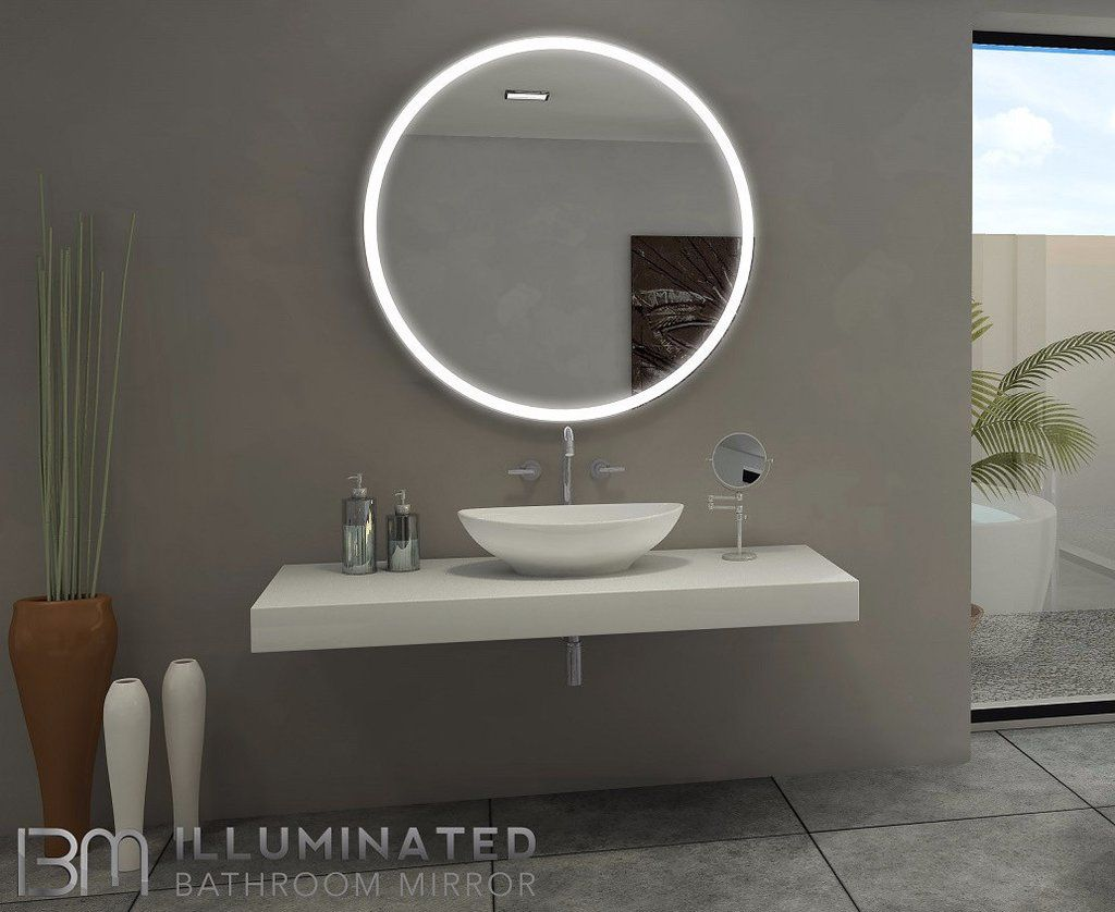dimmable lighted bathroom mirror round galaxy 40 x 40 bathroom rh pinterest com Framed Bathroom Mirror LED LED Mirrors Bathroom Wall